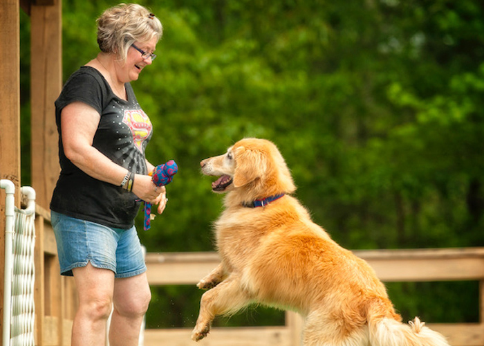 Leah Headshot with Golden Retriever - dog trainers near atlanta